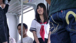 Beautiful schoolgirl enjoys to journey with trains