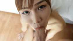 Petite 18yo previous Thai ladyboy sucks on giant white cock