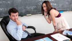 Attractive Lily learns cock anatomy from her instructor James.