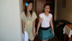 Two frisky Filipina babes join a horny foreign guy in hotel for threesome