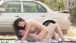 Big-titted Australian female pounded and creampied by the car