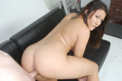 Filipina-American babe with completely shaved pussy fucks for tuition in California