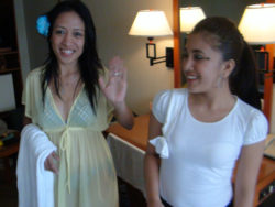 Two attractive Filipina babes workforce up for trio with one fortunate white man on holiday